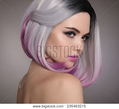 Ombre Bob Short Hairstyle. Beautiful Hair Coloring Woman. Fashion Trendy Haircut. Blond Model With S