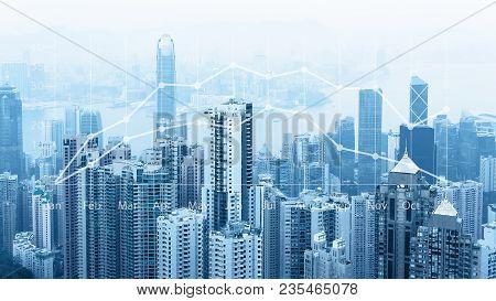 Modern Urban Skyline. Global Communications And Networking. Cyberspace In Big City. Stock Market.e-b