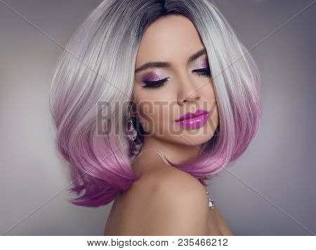 Colored Ombre Hair Extensions. Beauty Model Girl Blonde With Short Bob Purple Hairstyle Isolated On
