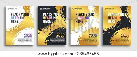 Collection Of Covers With Brush Strokes For Books, Magazines, Catalogs. Gold. Vector Illustration.