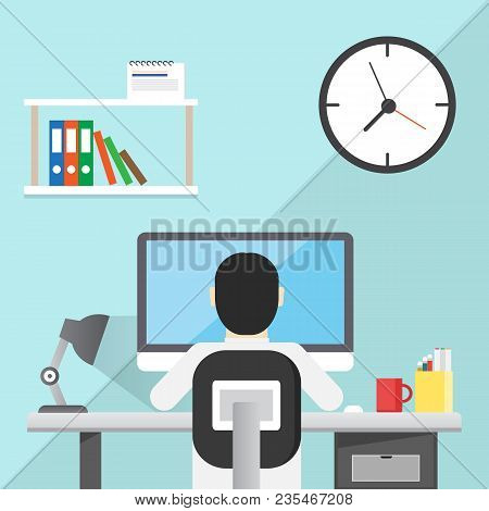 Business Man Sitting Desk Office Working Place Computer Back Rear View Flat Vector Illustration