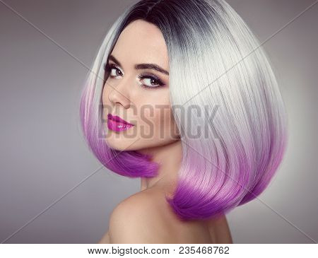 Bob Hairstyle. Colored Ombre Hair Extensions. Beauty Model Girl Blonde With Short Purple Hair Style