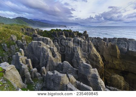 Beautiful Pancake Rocks And Blowholes , Located In Paparoa National Park , Punakaiki , South Island