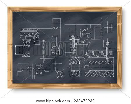 Mechanical Engineering Drawing. Engineering Drawing Background. Drawing Of Mechanism On A Board Chal
