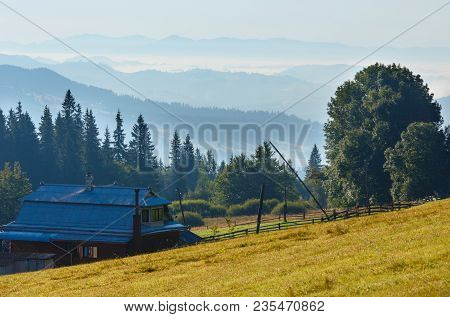 Summer Mountain Morning View With House On Slope (carpathians, Kryvopillja, Verkhovyna District, Iva