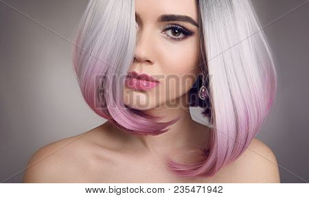 Ombre Bob Hairstyle Blonde Girl Portrait. Purple Makeup. Beautiful Hair Coloring Woman. Fashion Tren