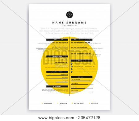 Creative Curriculum Vitae Cv Yellow Design Template For Artistic Person - Vector Document Illustrati