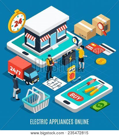 Electricity Isometric Colored 3d Composition With Electric Appliances Online Headline 3d Style Vecto