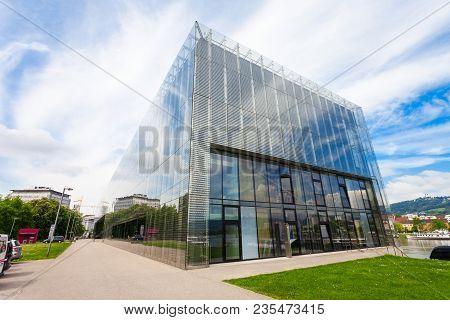Linz, Austria - May 15, 2017: Lentos Art Museum Or New Gallery Of The City Of Linz, Austria. Lentos
