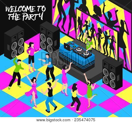 Dj And Party Composition With Entertainment Nightlife And Music Symbols Isometric Vector Illustratio