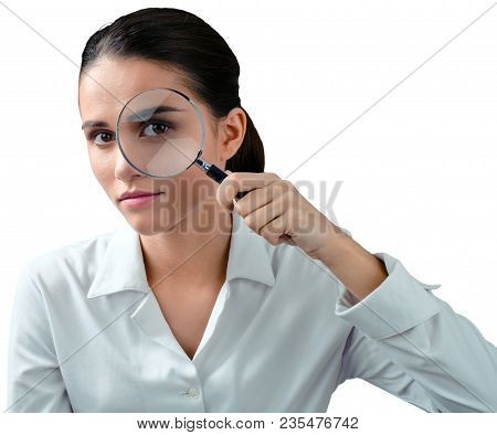 Magnifying Glass Woman Detective Loupe Looking Magnifier Zoom