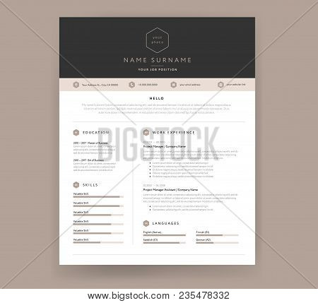 Cv Resume Template Design Sample Brown Beige Color