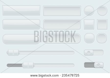 Light Grey Interface Buttons, Sliders And Toggle Switches. Vector 3d Illustration