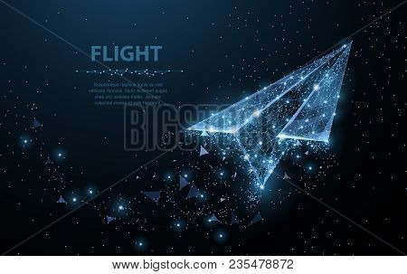Paper Airplane. Low Poly Wireframe Mesh Looks Like Constellation On Dark Blue Background With Dots A