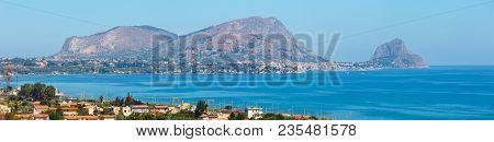 Azure Tyrrhenian Sea Bay And Rock Of Capo Zafferano View From Coastline Highway Road E90, Palermo Re