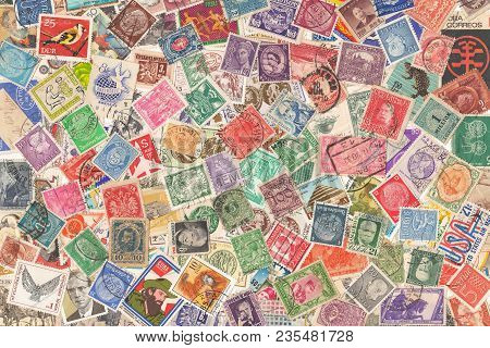 Old Postage Stamps From Different Countries, About 1870s - 1960s, Background