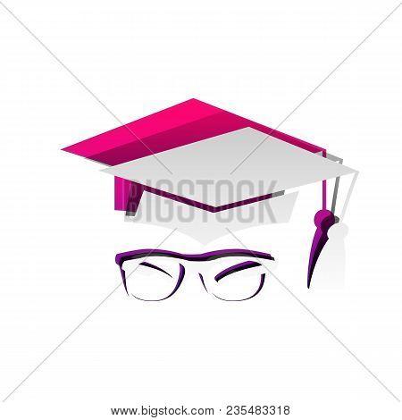 Mortar Board Or Graduation Cap With Glass. Vector. Detachable Paper With Shadow At Underlying Layer