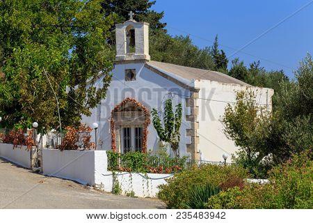 A small Greek Orthodox chapel in the village of Nippos, Apokoronas,Crete, Greece