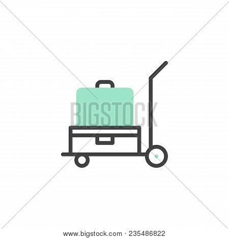 Luggage Trolley Icon Vector, Linear Flat Sign, Bicolor Pictogram, Green And Gray Colors. Baggage Tro