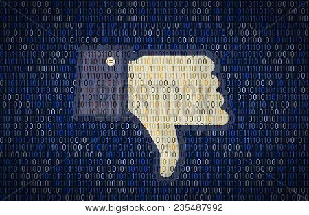 Galati, Romania - 10 April 2018: Facebook Thumb Down Security And Privacy Issues. Data Encription Co