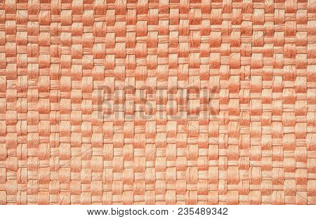 Closeup Surface Brown Wood Weave Bag Texture Background