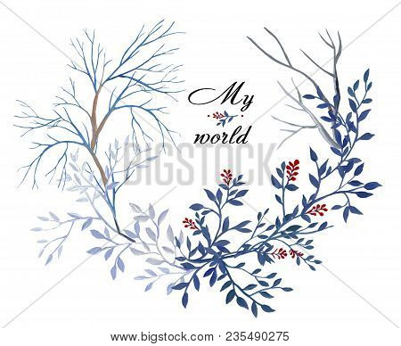 Gouache Round Natural Wreath Branches With Leaves