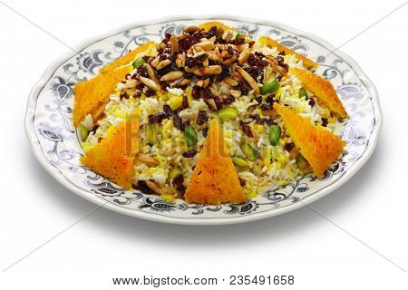 zereshk polo with tahdig, saffron barberry rice with scorched rice, iranian persian cuisine