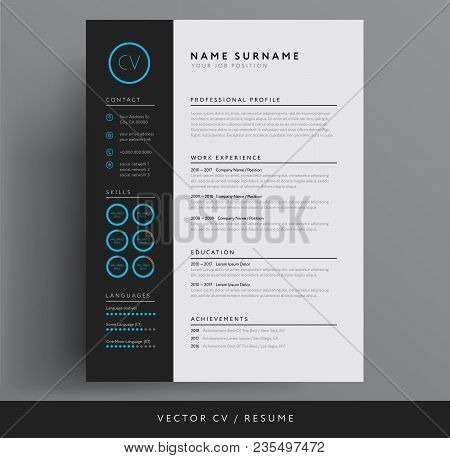 Stylish Cv / Resume Template - Blue And Dark Gray Backgound - Vector Sample Design