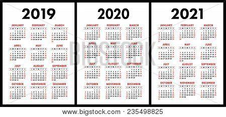 Pocket Calendar 2019, 2020, 2021 Set. Basic Simple Template. Week Starts On Sunday