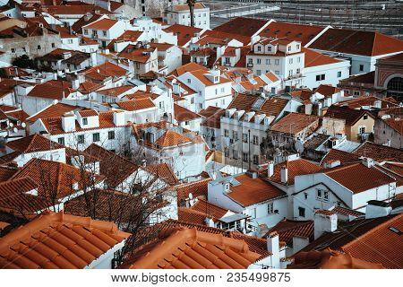 Srop Of Rooftops Of The Oldest District Alfama In Lisbon. . Lisbon Lisboa Lissabon.