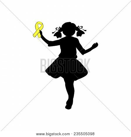 Silhouette Girl With Yellow Ribbon. World Chilhood Cancer Day. Vector Illustration