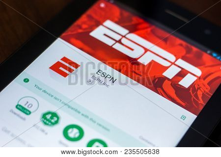Ryazan, Russia - March 21, 2018 - Espn Mobile App On The Display Of Tablet Pc