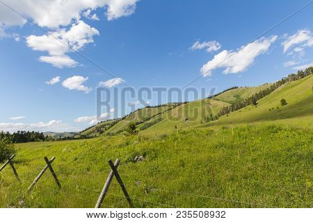 Barbed Wire Fence With Wood Posts In Lush, Green Landscape In Remote Area Of Highwood, Montana, Usa.