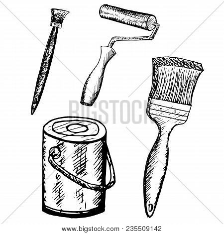 Ink Sketch Doodle Painting Equipment Drawing Stock Vector Illustration Design Element For Web, For P