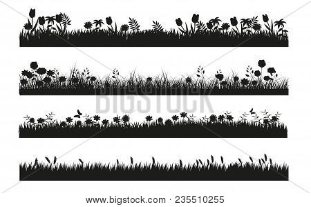 Different Grass Banner Silhouette Collection In Black And White