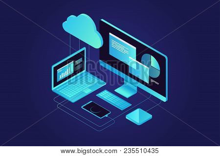 Concepts Cloud Storage. Computer, Laptop, Smartphone On Blue Background. Synchronization And Storage