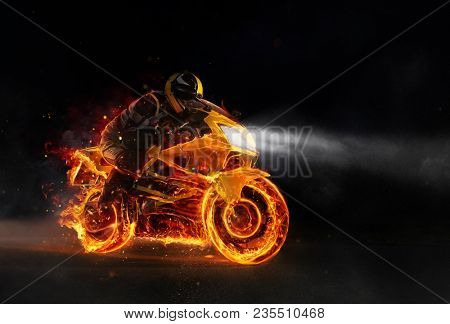 Super-sport fire motorbiker in darkness. Wallpaper motive with fast motorcycle in dramatic dark scene.