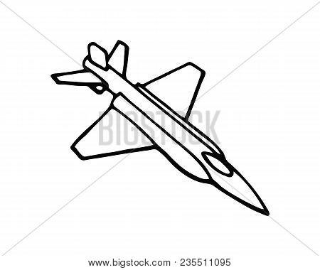 Flight Aviation Vector Icons. Airplane Black Silhouettes In Sky. Illustration Of Airplane Flight, Av