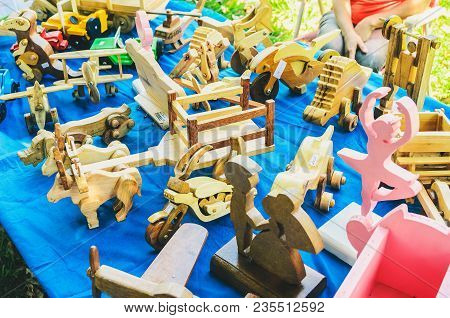 Wooden Handicraft Toys And Decoration Being Selled At Bolivia Square (praca Bolivia)