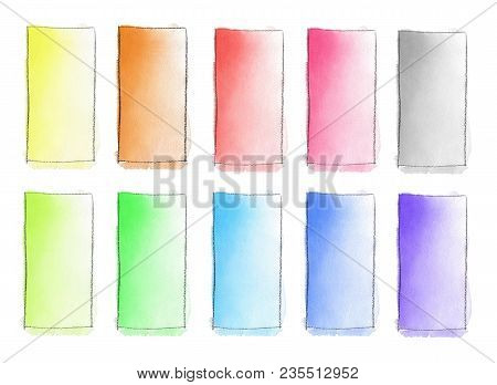 Set Of 10 Watercolor Gradient Fill From Color To White For Background. Texture Of Watercolor Paper.