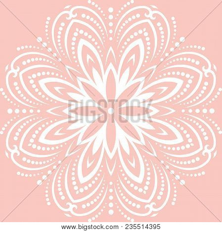 Oriental White Pattern With Arabesques And Floral Elements. Traditional Classic Ornament. Vintage Pa