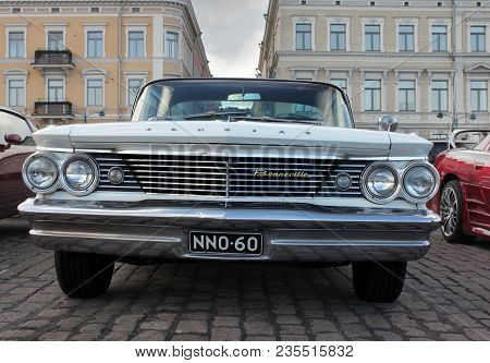 Helsinki, Finland - August 4, 2017: Old American Car Pontiac Bonneville At Helsinki Cruising Night (