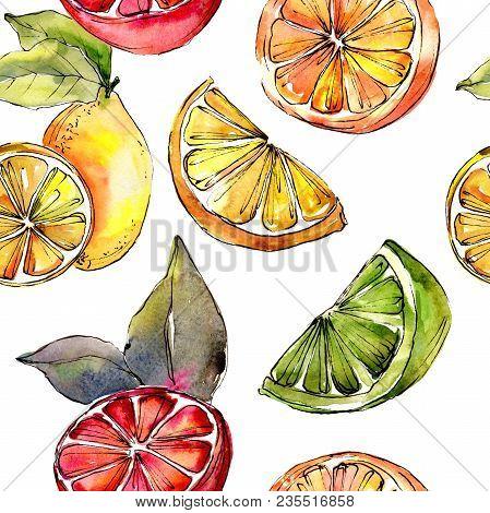 Exotic Lemon Citruses In A Watercolor Style Pattern. Full Name Of The Citruses: Lemon. Aquarelle Cit