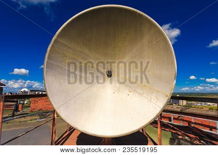 Rusty Telecommunication Tower With Old Satellite System Consist Of Old Satellite Dish Antenna Is  Lo