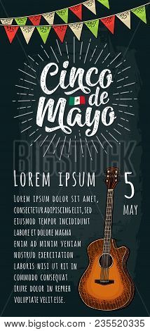 Cinco De Mayo Handwriting Lettering With Ray, Garland And Guitar. Vector Color Vintage Engraving Ill