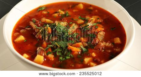 Tomato Soup With Red Beans, Potato And Carrot. Vegan Diet. European Cuisine. Vegetarian Dish. Main C