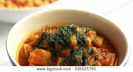 Simple Vegetable Soup. European Cuisine. Chickpeas, Potato And Carrot. Organic Food. Vegan Dish. Veg