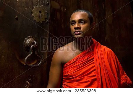 Colombo, Sri Lanka - December 5, 2016: Portrait Of Unidentified Buddhist Monk In Traditional Clothin
