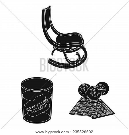 Human Old Age Black Icons In Set Collection For Design. Pensioner, Period Of Life Vector Symbol Stoc