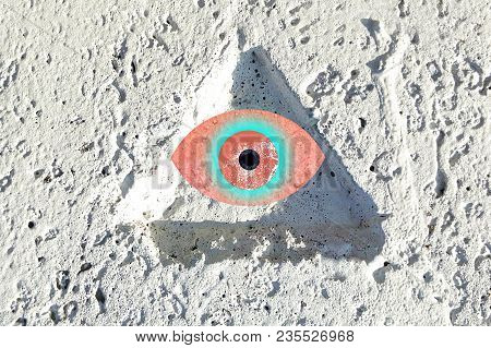 The All-seeing Eye Abstraction Of The Magic Symbol Of Freemasonry, Psychedelic Image
